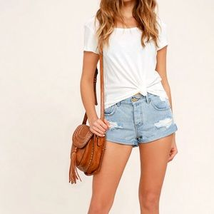 Amuse Society Light Blue Distressed Jean Shorts